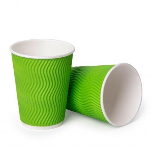Стакан бумажный гофрированный зеленый 350 мл