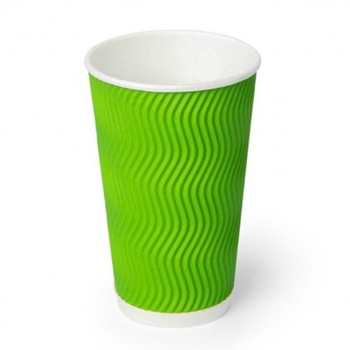 Стакан бумажный гофрированный зеленый 450 мл