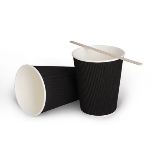 Стакан бумажный гофрированный черный 350 мл