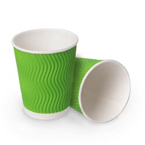 Стакан бумажный гофрированный зеленый 250 мл