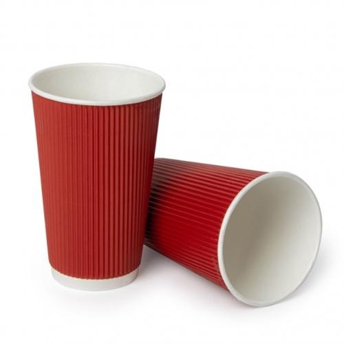 Стакан бумажный гофрированный красный 450 мл