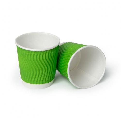 Стакан бумажный гофрированный зеленый 100 мл